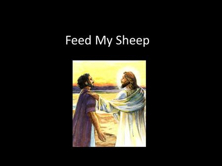 Feed My Sheep. What can you see in the picture? Which part of the story is it showing? Why are Jesus' hands raised? Why is he shown in white?