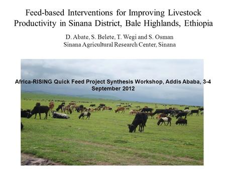 Feed-based Interventions for Improving Livestock Productivity in Sinana District, Bale Highlands, Ethiopia D. Abate, S. Belete, T. Wegi and S. Osman Sinana.