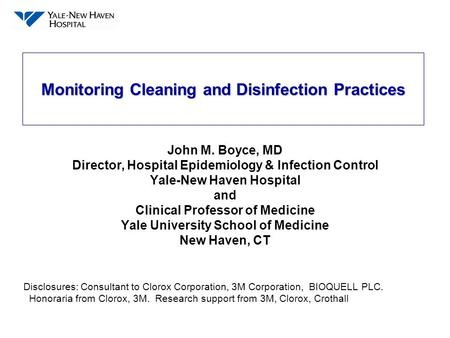 Monitoring Cleaning and Disinfection Practices