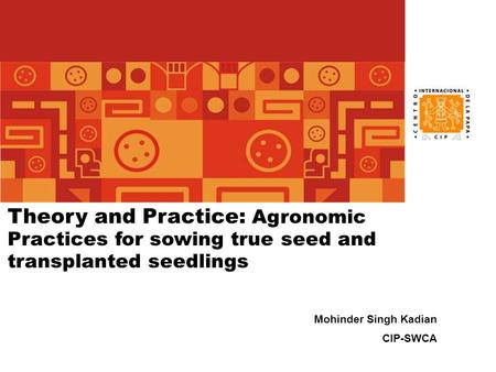 Theory and Practice: Agronomic Practices for sowing true seed and transplanted seedlings Mohinder Singh Kadian CIP-SWCA.