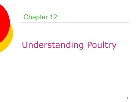 1 Chapter 12 Understanding Poultry. 2 Chapter Objectives 1.Explain the differences between light meat and dark meat, and describe how these differences.