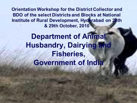 Department of Animal Husbandry, Dairying and Fisheries, Government of India Orientation Workshop for the District Collector and BDO of the select Districts.