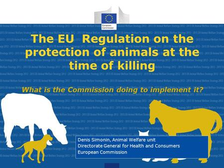 The EU Regulation on the protection of animals at the time of killing What is the Commission doing to implement it? Denis Simonin, Animal Welfare unit.
