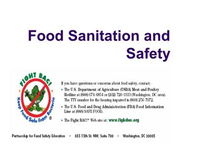 food safety and sanitation In accordance with federal civil rights law and us department of agriculture (usda) civil rights regulations and policies, the usda, its agencies, offices, and employees, and institutions.