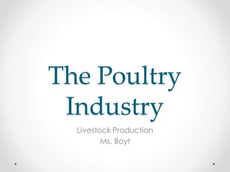 The Poultry Industry Livestock Production Ms. Boyt.