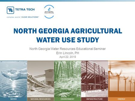 WATERNATURAL RESOURCESENVIRONMENTINFRASTRUCTUREENERGY NORTH GEORGIA AGRICULTURAL WATER USE STUDY North Georgia Water Resources Educational Seminar Erin.