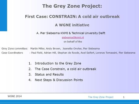 1 The Grey Zone Project WGNE 2014 The Grey Zone Project: First Case: CONSTRAIN: A cold air outbreak A WGNE initiative 1.Introduction to the Grey Zone 2.The.