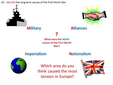 ? What were the MAIN causes of the First World War? MilitaryAlliances ImperialismNationalism Which area do you think caused the most tension in Europe?