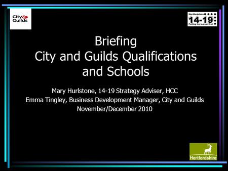 Briefing City and Guilds Qualifications and Schools Mary Hurlstone, 14-19 Strategy Adviser, HCC Emma Tingley, Business Development Manager, City and Guilds.