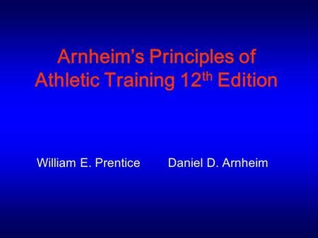 Arnheim's Principles of Athletic Training 12th Edition