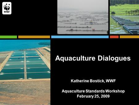 Aquaculture Dialogues Katherine Bostick, WWF Aquaculture Standards Workshop February 25, 2009.