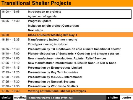 Shelter Meeting 09b is hosted by UNHCR Transitional Shelter Projects 16:00 – 16:05Introduction to projects Agreement of agenda 16:05 – 16:30Progress update.