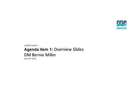OneNS Coalition Agenda Item 1: Overview Slides DM Bernie Miller April 21 st 2015.