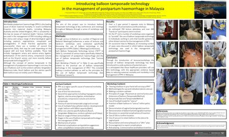 Introducing balloon tamponade technology in the management of postpartum haemorrhage in Malaysia 1,2,3 Associate Professor Chris Georgiou BSc (Hons) PhD.