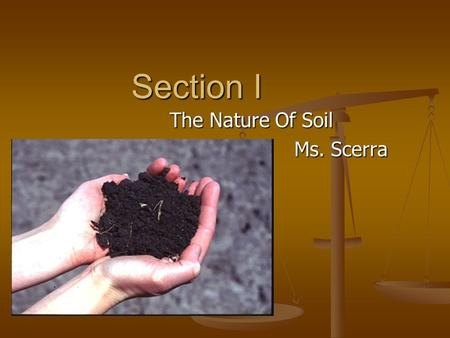 Section I The Nature Of Soil Ms. Scerra. Formation of soil can take thousands of years can take thousands of years.