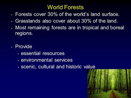 1 World Forests Forests cover 30% of the world's land surface. Grasslands also cover about 30% of the land. Most remaining forests are in tropical and.