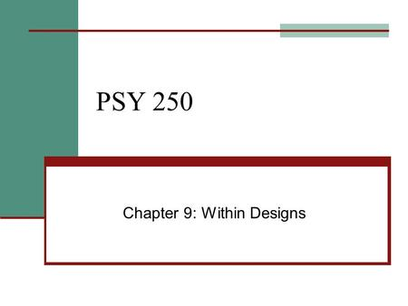 Chapter 9: Within Designs