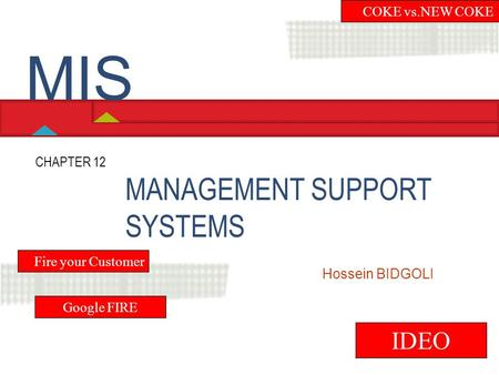 MIS MANAGEMENT SUPPORT SYSTEMS IDEO COKE vs.NEW COKE CHAPTER 12