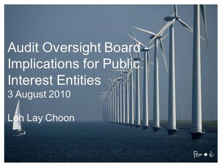 PwC Audit Oversight Board - Implications for Public Interest Entities 3 August 2010 Loh Lay Choon.