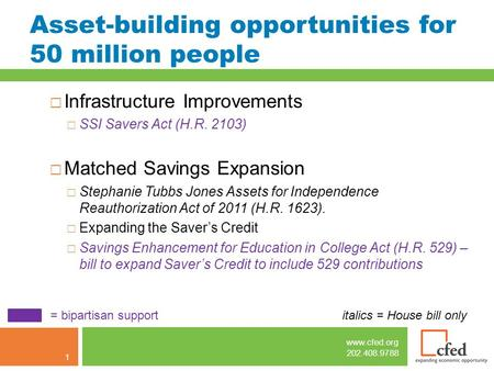 Www.cfed.org 202.408.9788 Asset-building opportunities for 50 million people  Infrastructure Improvements  SSI Savers Act (H.R. 2103)  Matched Savings.
