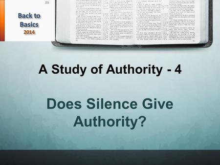 A Study of Authority - 4 Does Silence Give Authority?