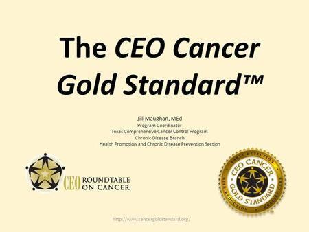 The CEO Cancer Gold Standard™ Jill Maughan, MEd Program Coordinator Texas Comprehensive Cancer Control Program Chronic Disease Branch Health Promotion.