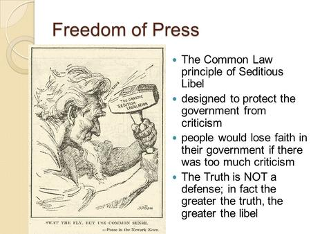 Freedom of Press The Common Law principle of Seditious Libel designed to protect the government from criticism people would lose faith in their government.
