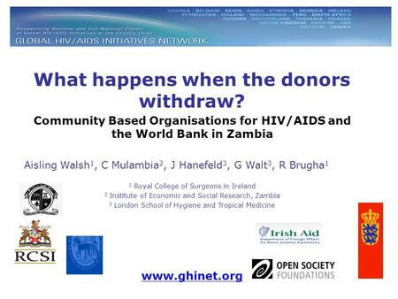 What happens when the donors withdraw? Community Based Organisations for HIV/AIDS and the World Bank in Zambia Aisling Walsh 1, C Mulambia 2, J Hanefeld.