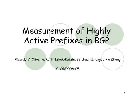 1 Measurement of Highly Active Prefixes in BGP Ricardo V. Oliveira, Rafit Izhak-Ratzin, Beichuan Zhang, Lixia Zhang GLOBECOM'05.