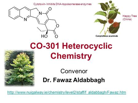 CO-301 Heterocyclic Chemistry Convenor Dr. Fawaz Aldabbagh  Cytotoxin- Inhibits DNA-topoisomerase.