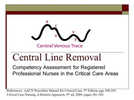 Central Line Removal Competency Assessment for Registered Professional Nurses in the Critical Care Areas References: AACN Procedure Manual for Critical.