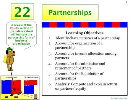 ©CourseCollege.com 1 22 Partnerships Learning Objectives 1.Identify characteristics of a partnership 2.Account for organization of a partnership 3.Account.