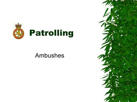Patrolling Ambushes.