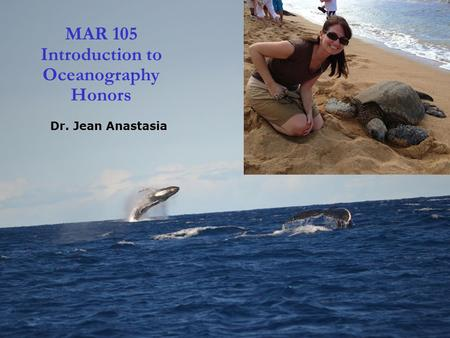 1 MAR 105 Introduction to Oceanography Honors Dr. Jean Anastasia.