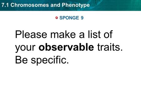 7.1 Chromosomes and Phenotype SPONGE 9 Please make a list of your observable traits. Be specific.