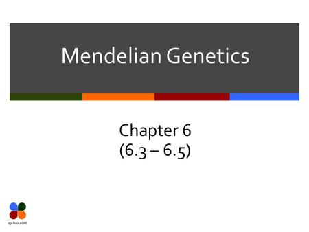 Mendelian Genetics Chapter 6 (6.3 – 6.5). Section 6.3.
