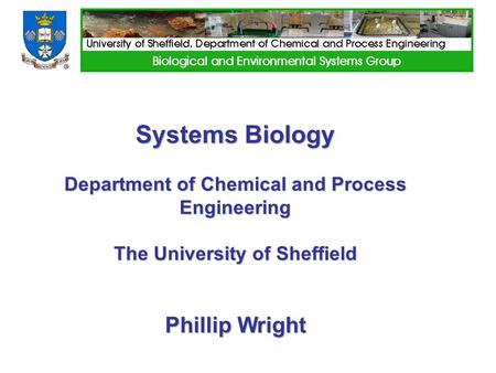 Systems Biology Department of Chemical and Process Engineering The University of Sheffield Phillip Wright.