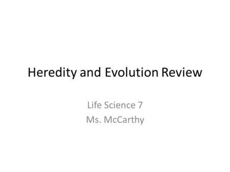 Heredity and Evolution Review