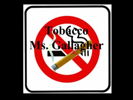 "Tobacco Ms. Gallagher Use your Refusal Skills: Say ""NO!"" ""It's Gross!"" ""I don't want Cancer!"""