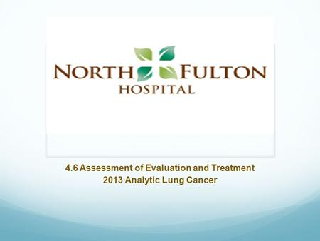 4.6 Assessment of Evaluation and Treatment 2013 Analytic Lung Cancer.