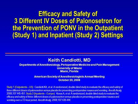 1 Efficacy and Safety of 3 Different IV Doses of Palonosetron for the Prevention of PONV in the Outpatient (Study 1) and Inpatient (Study 2) Settings Study.