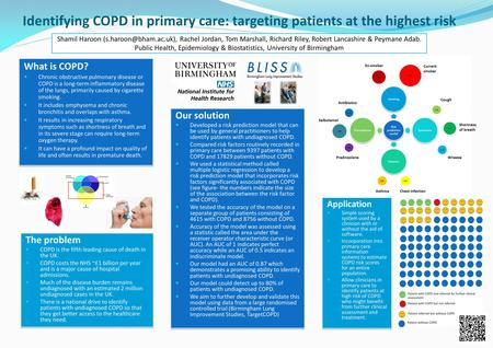 Identifying COPD in primary care: targeting patients at the highest risk What is COPD? Chronic obstructive pulmonary disease or COPD is a long-term inflammatory.
