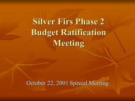 Silver Firs Phase 2 Budget Ratification Meeting October 22, 2001 Special Meeting.