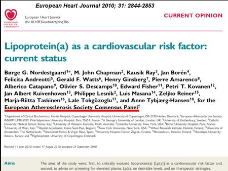 European Heart Journal 2010; 31: