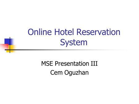 Online dissertation help hotel reservation system