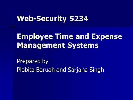 Web-Security 5234 Employee Time and Expense Management Systems Prepared by Plabita Baruah and Sarjana Singh.