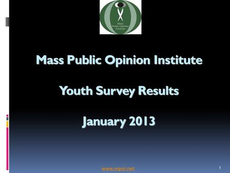 Mass Public Opinion Institute Youth Survey Results January 2013 1 www.mpoi.net.