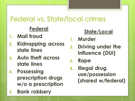 Federal vs. State/local crimes Federal 1. Mail fraud 2. Kidnapping across state lines 3. Auto theft across state lines 4. Possessing prescription drugs.