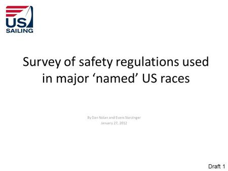 Survey of safety regulations used in major 'named' US races By Dan Nolan and Evans Starzinger January 27, 2012 Draft 1.