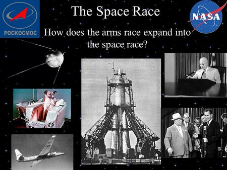 How does the arms race expand into the space race?
